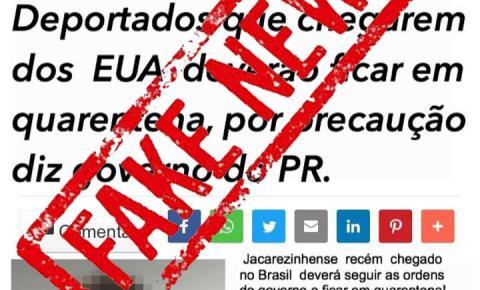 Falsa notícia sobre suposto caso confirmado de Covid-19 em deportado em Jacarezinho se espalha pelas redes sociais
