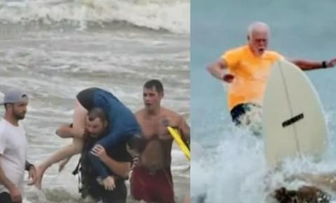 Surfista idoso ajuda a salvar duas garotas que se afogavam no mar