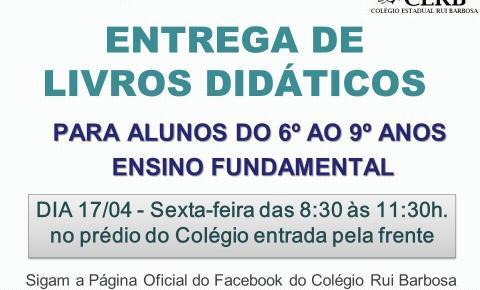 Colégio Rui Barbosa divulga entrega de livros didáticos