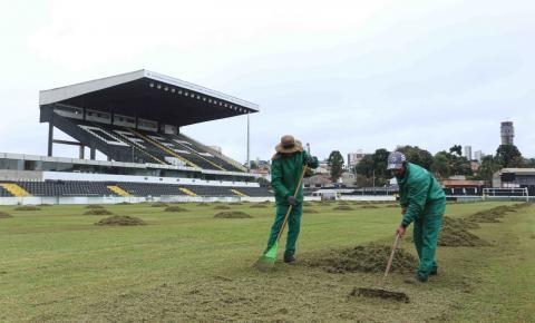 Operário inicia plantio da grama de inverno