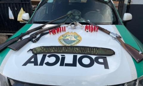 Polícia Ambiental apreende quatro armas e munições em Cambará