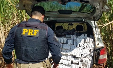 PRF apreende minivan recheada de cigarros em Cambará