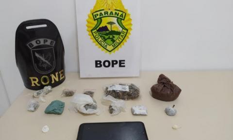 BOPE prende rapaz com maconha e cocaína em Santo Antônio da Platina